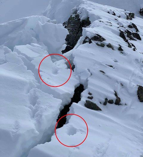 SPOR: Her er potesporene fra fuglehunden som løste ut skred på Goalsevarre-ryggen