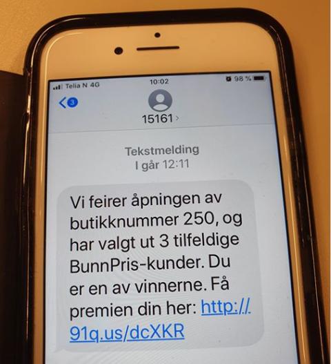 Advarer: På onsdag fikk butikkjeden Bunnpris ut på sin Facebook-side for å advare sine kunder mot SMS-en.