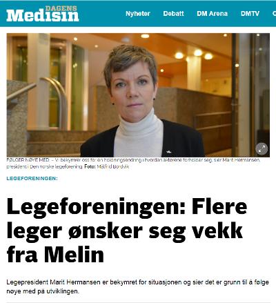 KRITISK: President Marit Hermansen i Den norske legeforening sier til Dagens Medisin at flere leger ønsker seg vekk fra Melin Medical.