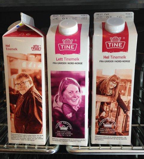 I KJØLEDISKEN: Familien Wigelius fra Tana, Ottar, Kathinka og Wenche står i butikkenes kjøledisker. Foto: Eilif Aslaksen