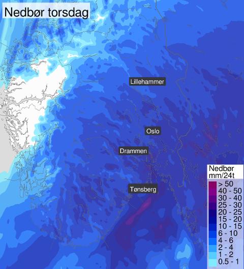 Bildet viser nedbørsmengden for Østlandet torsdag.
