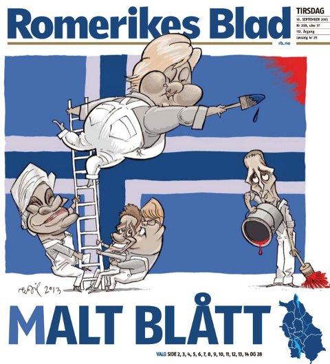 2013: Egil Nyhus høstet mye ros for denne forsiden for åtte år siden. Erna Solberg farget ikke bare Norge og flagget blått, men Romerikes Blads tittelhode var også blått for første og hittil eneste gang.