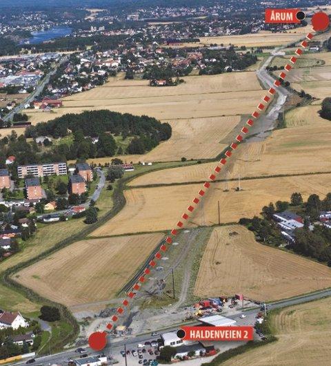 En tidligere skisse: Slik så Frp for seg en ny havnevei fra Habornveien til Årum i 2016. Nå kommer havneveiplanene opp på nytt. (Arkivfoto: Erik Hagen)
