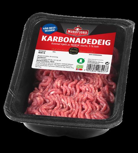 SJEKK DATOAR OG STYR UNNA: Karbonadedeig frå Nordfjord Kjøtt med siste forbruksdag anten 26. april eller 10. mai skal du ikkje ete. Den kan ha salmonella-bakteriar i seg.