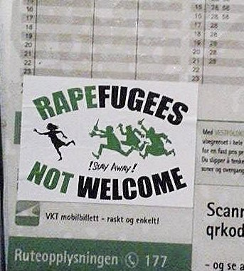 Nei takk! På en buss-stopp i Holmestrand. Foto: Privat