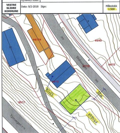 Situasjonskart: Kartet viser plasseringa av det nye lagerbygget (grønt) for uteseksjonen i Vestre Slidre.