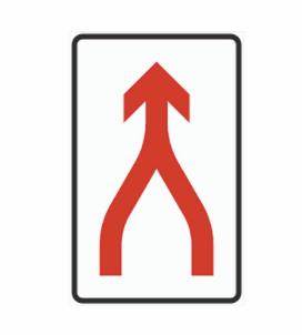 Skilt 530: Skiltet angir at kjørefelt føres sammen til ett med gjensidig tilpassing i samsvar med trafikkreglenes bestemmelser (fletting).