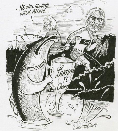 DYRT: Pål Jacobsen hadde lovet å dra på fisketur med en kompis, og takket derfor nei til prøvespill for Liverpool. Tegning: Oddmund Mikkelsen