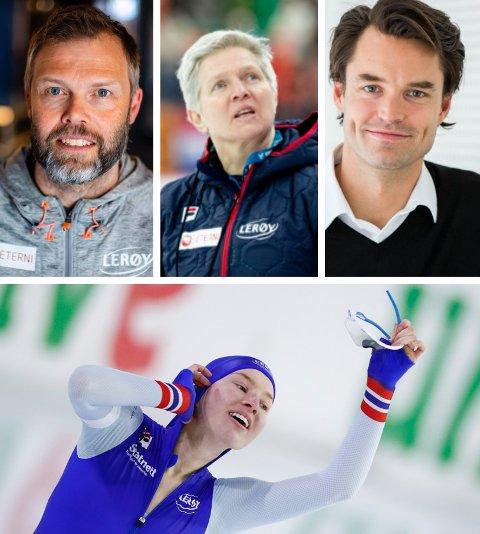 SKRYT: Ragne Wiklund (20) tok et sensasjonelt VM-gull på 1500 skøyter. Det får eksperter som Lasse Sætre (tv), Edel Therese Høiseth og Even Wetten til å finne fram superlativene.