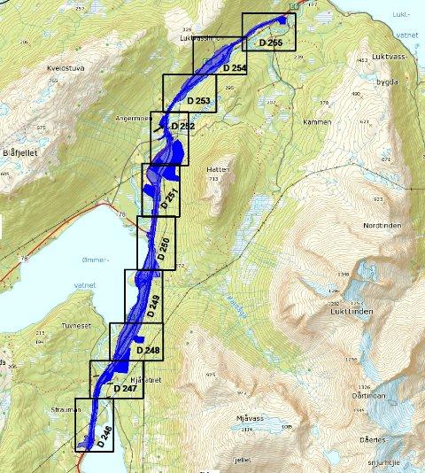 OMRÅDE: Fra E6-traseen fra Luktvatnet og nordover forbi Ømmervatnet og videre til Luktvatnet. Angermoen ligger like nordøst for Ømmervatnet