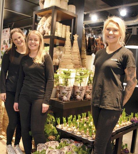 GODT TEAM: Hanne Skaret (til høyre) tar nå over som eier og driver av Floriss Stil Blomster på AMFI i Elverum. Med seg på laget har hun (fra venstre) Solfrid Risbakken og Andrea Bratlie Godlien.