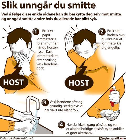 Ved å følge disse enkle rådene kan du beskytte deg selv mot smitte, og unngå å smitte andre hvis du allerede har blitt syk.