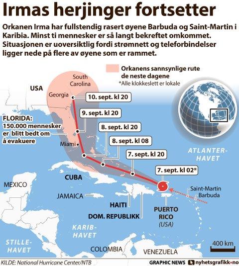 Orkanen Irma har fullstendig rasert øyene Barbuda og Saint-Martin i Karibia. Minst ti mennesker er så langt bekreftet omkommet. Situasjonen er uoversiktlig fordi strømnett og teleforbindelser ligger nede på flere av øyene som er rammet.