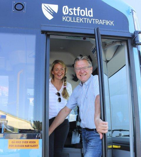 Vil forbedre: Cecilie Agnalt og Erik Unaas sitter i prosjektgruppen «Østfold tar bussen», som skal få flere til å bruke kollektivtransport. Tredjemann og leder i gruppen er MDGs Erik Skauen.