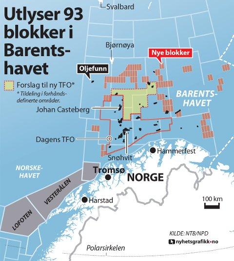 Utlyser 93 blokker i Barentshavet