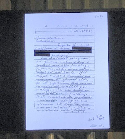 BREVET: I dette brevet som er skrevet på svensk, datert fem dager etter drapene, navngis personer som knyttes til jugoslaviske mafiamedlemmer.