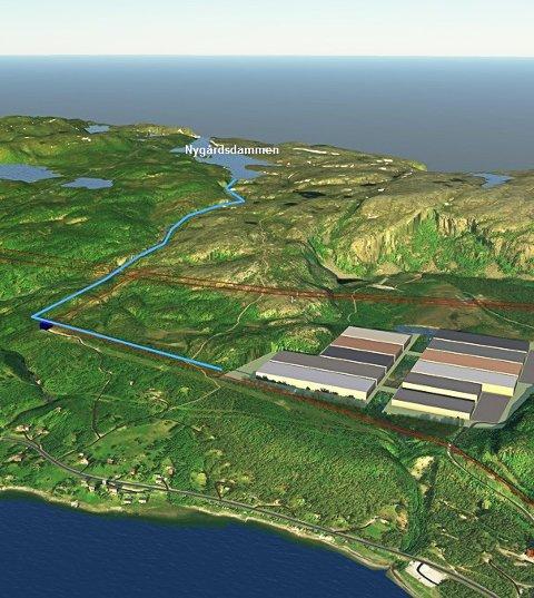 KANSKJE SLIK: Illustrasjon av hvordan en batterifabrikk på Hergot kan bli plassert.