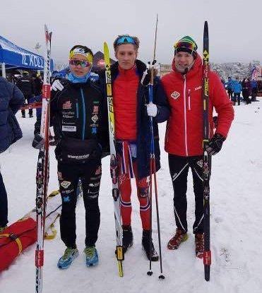 TFLs stafettgutter i NM-stafetten på Lygna. Fra venstre Petter Stokkeland, Marcus Syversen og Marius Svendsby.