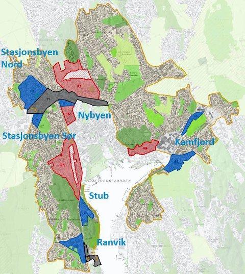PLAN: Kartet angir med farge anbefalingene for videre fortetting: Rødt betyr ikke egnet, blått særlig egnet, grønt er friluftsområde og grått er transformasjonsområde. Alt ellers innenfor den orange streken anses som mindre egnet. (Illustrasjon: Sandefjord kommune)