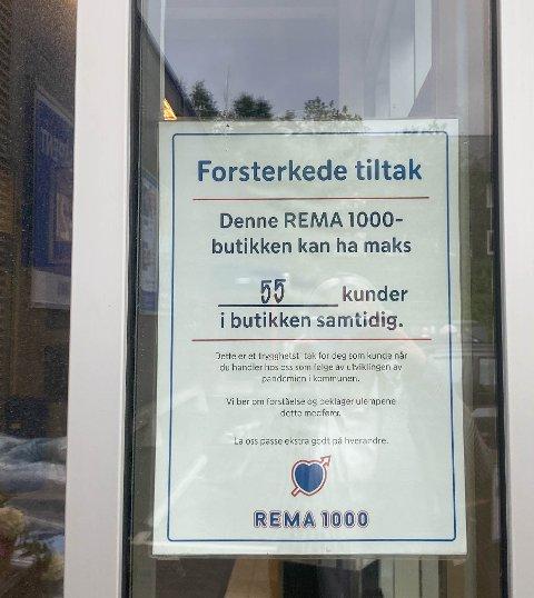MAKS 55: På Rema 1000 Skistua er det maks 55 personer som skal være inne samtidig.