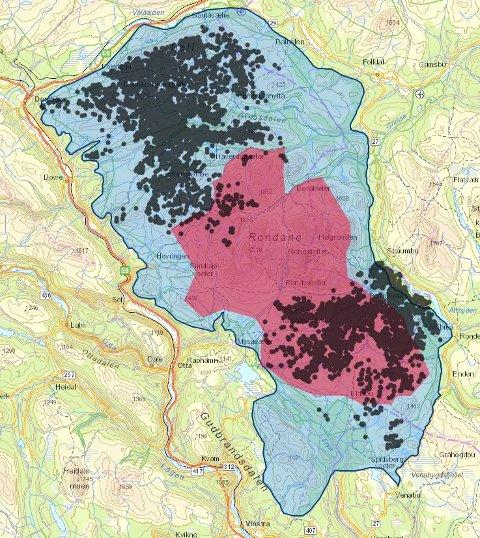 «Dobbelt vern halvert leveområde for villrein» Blå farge er leveområdet til villreinen i Rondane,  rødt er Rondane nasjonalpark før utvidelsen. Svarteprikker er  GPS-data fra villrein 2016.
