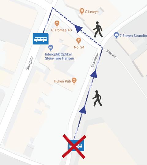 OMVEI: Kartet viser hvilket busstopp som fjernes midlertidig, og hvilket busstopp det vil opereres fra i perioden.