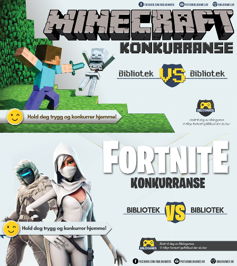 Bibliotekene arrangerer turneringer i Minecraft og Fortnite