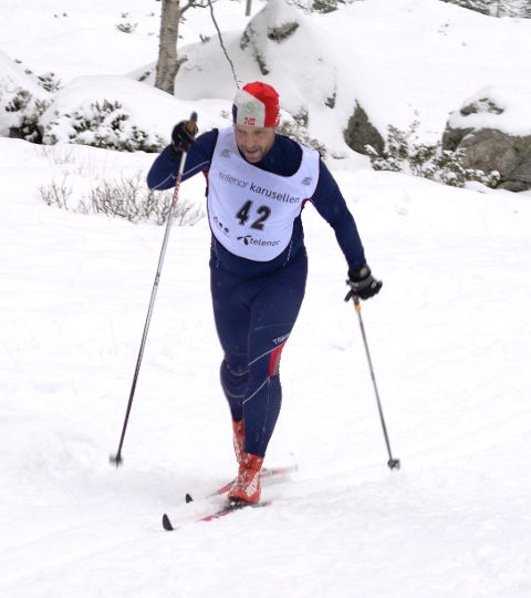 Håvard Pedersen i IL Ternen var raskaste mann gjennom løypa på 10 kilometer.