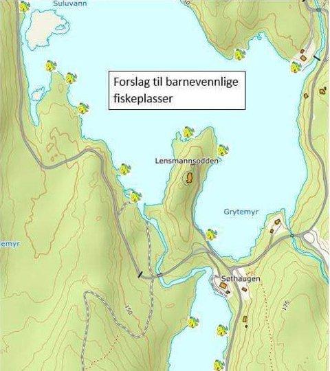 Kart: Dette kartet viser barnevennlige fiskeplasser.