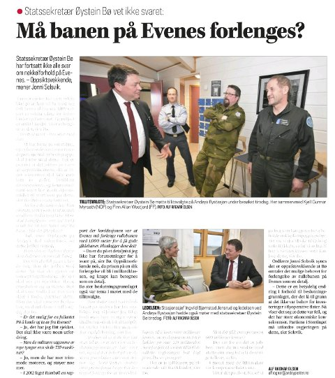 Her får statssekretæren spørsmål om rullebanen på Evenes må forlenges, men Øystein Bø svarte at han ikke hadde forutsetninger for å svare på detaljnivå.
