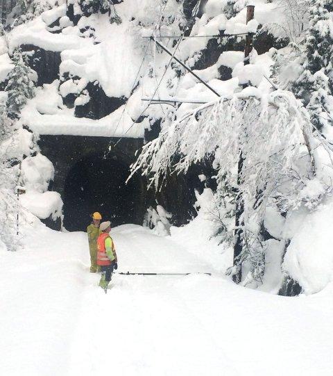 Bratsbergbanen ble hardt rammet av snøfallet sist uke.