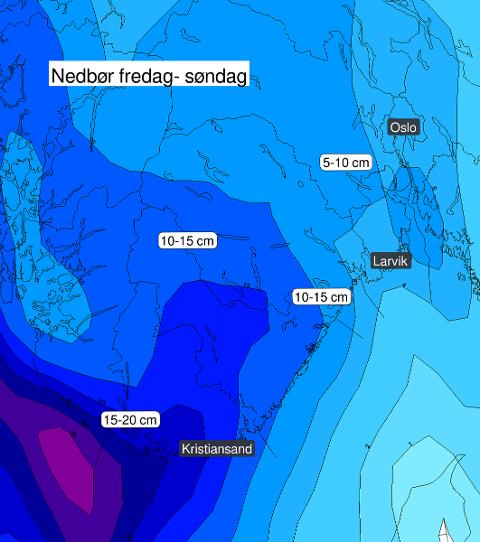 Slik ser de oppdaterte prognosene for helgen ut. Vi slipper trolig unna de største snømengdene.