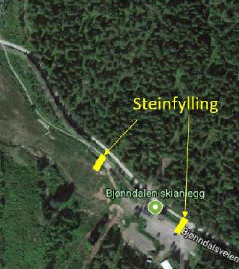 BJØNNDALENSKIANLEGG:Skisse som viser hvor GIF tenker å bygge to små dammer i bekken langs Bjønndalsmyra for å løfte vannspeilet med rundt en meter.