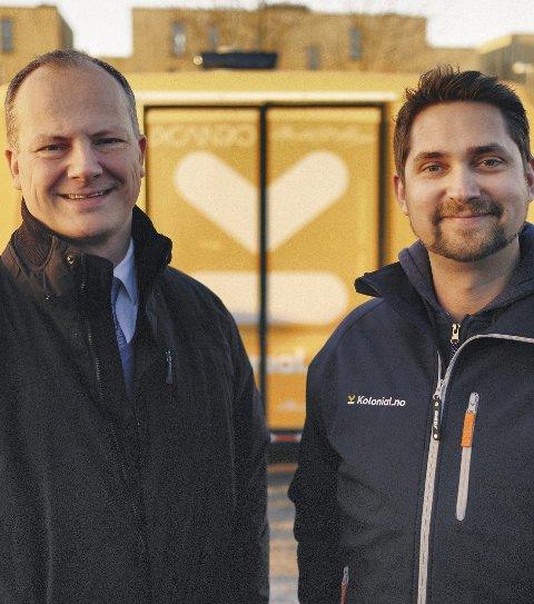 Samferdselsminister Ketil Solvik-Olsen (Frp) og Karl Munthe Kaas i Kolonial.no.