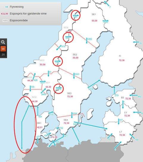 Samtidig som kulda har lagt seg over Norge, eksporterer vi strøm i nesten alle retninger.