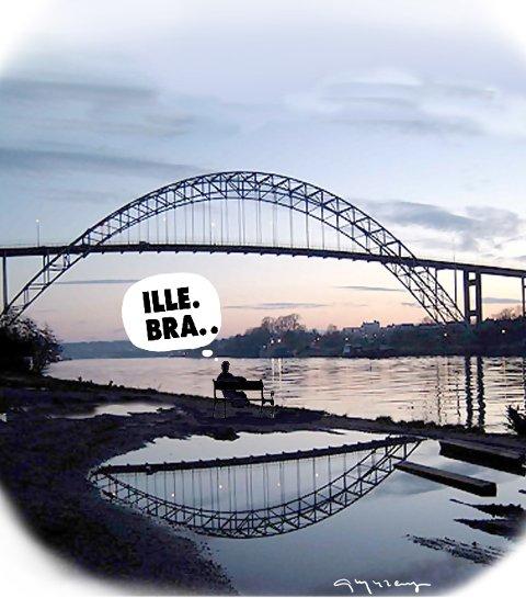 Hvilke historier forteller vi? Hilde Vatn Sørlie vurderer Fredrikstads omdømmebygging med ståsted i begge byene i Nedre Glomma. Arkivtegning: Jørn Grynnerup