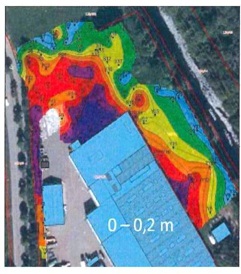 FORURENSET: Kartet over forurensing etter Exide Sønnak i Moloveien 3 går fra verst (lilla) til godt (grønt), men indikasjonene går på at det også er mye uhumskheter under de blå bygningene og den grå asfalten. Pålegget fra Miljødirektoratet er nå at også forurensing under disse områdene må bort. Det inkluderer forurenset masse på Kanalbanen, ut mot Hortenskanalen til høyre.