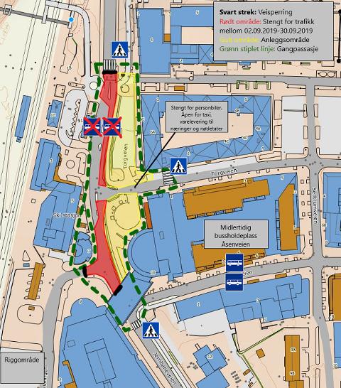 HER KAN DU GÅ: Den grønne, striplede linja viser hvor man kan gå rundt anleggsområdet.