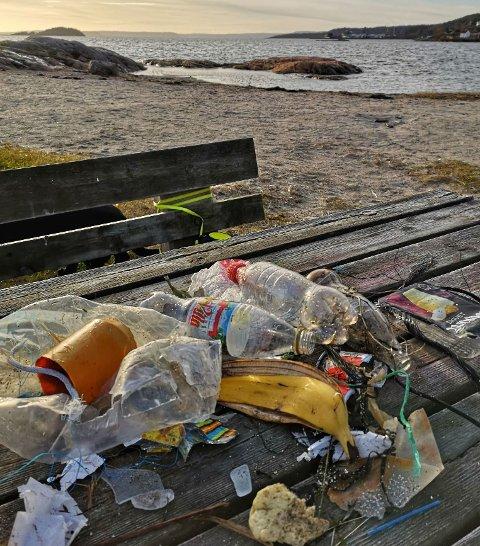 SKJÆRA: Dette er noe av søppelet som lå på Skjæra søndag.