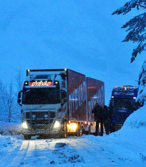 Fast i Tjernfjellet: Et utenlandsk vogntog som ikke var skodd for forholdene. Gjennom tidene har hundrevis lidd samme skjebne. Men høsten 2019 er det slutt takket være Tjernfjelltunnelen.