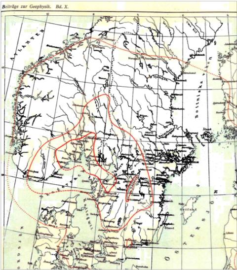 Intensitetskart av jordskjelvet i 1904 av J.G. Andersson, 1910.
