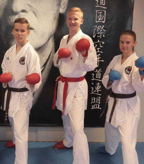 Medalje i EM: Julian Halsøy, Nikolai Kråkstad og Kerstin Michalsen kom alle på pallen under helgas karate-EM i Portugal. Foto: Stian Forland