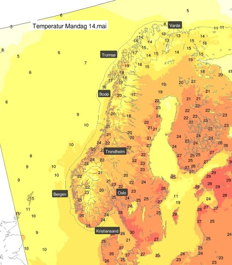 VARME DAGER! Mandag og tirsdag blir det godt og varmt i Sør-Norge.