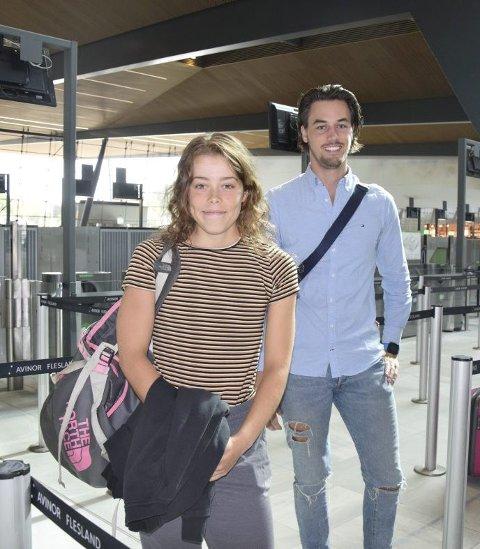 Emelie Røe Utvik og Sivert Broll på vei til Belgia.