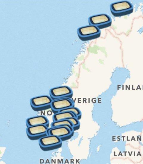 MINE BESØK: Noen av artikkelforfatterens stadionbesøk i Norge. Skjermdump