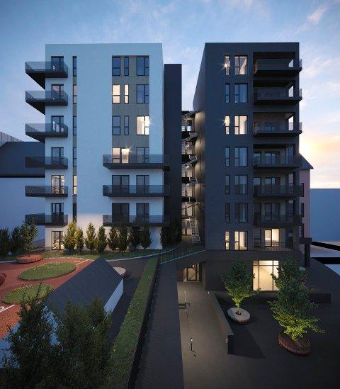 NYBYGG: Til våren starter Strøm Gundersen Vestfold gravearbeidene for 36 leiligheter i Storgata. (Illustrasjon: Rift/Kvartal 19 Arkitektkontor)