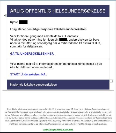 Falsk e-post som kan se ut som om den er en undersøkelse fra Folkehelseinstituttet. Undersøkelsen ender med en premie som kun koster frakt, og deretter blir man trukket et større beløp.