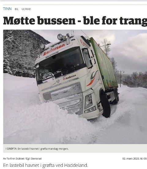 ULYKKE: Mandag morgen endte en lastebil i grøfta ved Haddeland. (faksimile RA - nett)