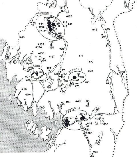 Funnspredningskart: Mesolitiske funnlokaliteter i Østfold med fire funntette regioner. Kilde: Inge Lindblom, 1984