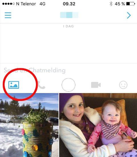 """ENDELIG: Nå kan du sende bilder fra kamerarullen i Snapchat. Du kan også ringe, ta bilde, sende video og sende """"klistremerker"""" direkte."""